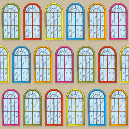 Seamless Vector Pattern. Beige Wall with Different Color Windows. Hand Drawn Illustration