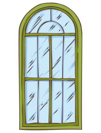 casement: Green Arched Window Isolated on a White. Hand Drawn Illustration