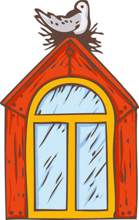 Attic Arched Window with Red Orange Frame and Bird. Isolated on a White. Hand Drawn Illustration