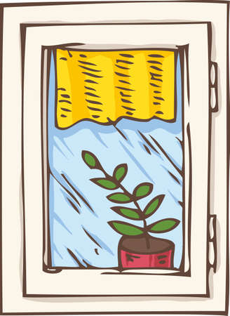casement: White Plastic Window with Yellow Curtain and Plant in a Pot on a Windowsill. Hand Drawn Illustration
