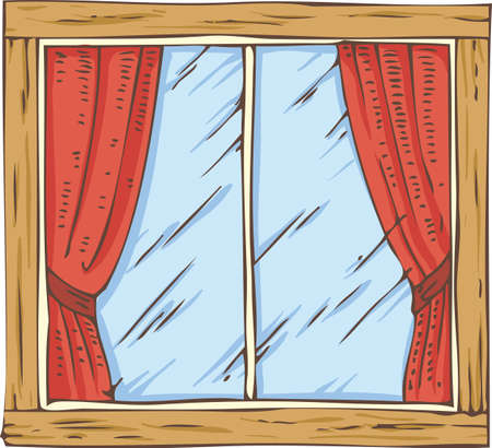casement: Wooden Window with Red Curtain. Hand Drawn Illustration