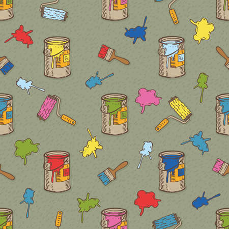 paint cans: Seamless Vector Pattern with a Multicolored Paintbrushes, Roller Brushes and Paint Cans on a Gray Background Illustration