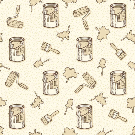 paint cans: Seamless Vector Pattern with a Paintbrushes, Roller Brushes and Paint Cans on a Beige Background Illustration