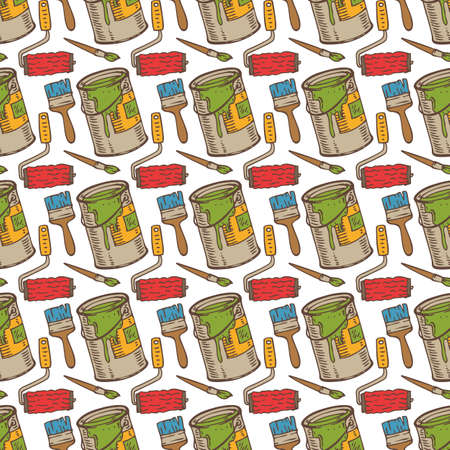 paint cans: Seamless Vector Pattern with a Paintbrushes, Roller Brushes and Paint Cans on a White Background