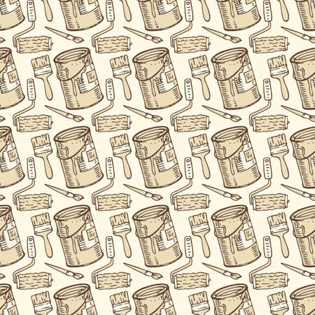 paint cans: Seamless Vector Pattern with a Brown Paintbrushes, Roller Brushes and Paint Cans on a Beige Background Illustration