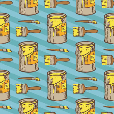 paint tin: Seamless Vector Pattern with a Paintbrushes and Paint Tin Cans with Yellow Paint on a Blue Striped Background Illustration
