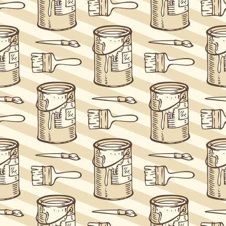paint tin: Seamless Vector Pattern with a Paintbrushes and Paint Tin Cans with Paint on a Beige Striped Background