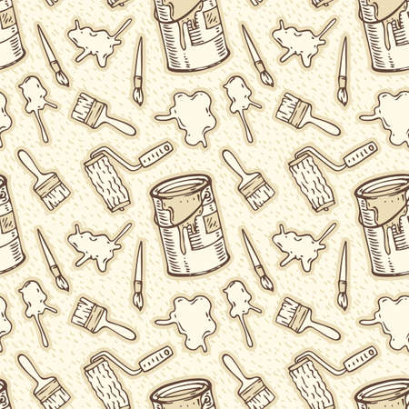 paint cans: Seamless Vector Pattern with Brown Contours of a Paint Stains, Paintbrushes, Roller Brushes and Paint Cans on a Beige Background Illustration