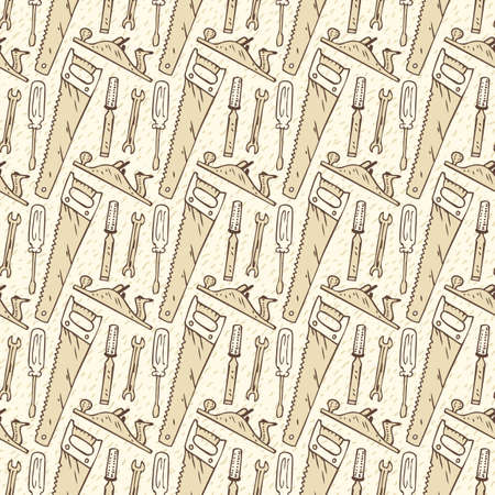 metalworking: Seamless Vector Pattern with Brown Conyours of Tools for Woodworking on a Beige Background. Hand Drawn Illustration in Retro Style