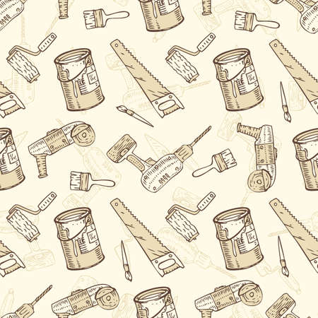 paint cans: Seamless Vector Pattern with a Paintbrushes, Roller Brushes, Paint Cans and Tools for Repair and Fixing on a Beige Background. Hand Drawn Illustration in a Retro Style