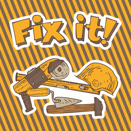hazard stripes: Fix it. Composition with Tools for Repair and Fixing on a Traditional Hazard Striped Background Illustration