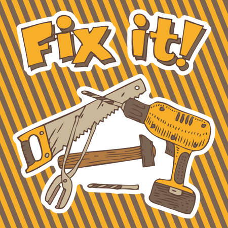 Fix it. Composition with Tools for Repair and Fixing on a Traditional Hazard Striped Background Illustration
