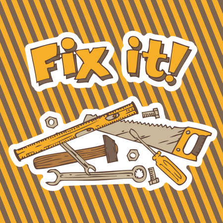 tagline: Fix it. Composition with Tools for Repair and Fixing on a Traditional Hazard Striped Background Illustration