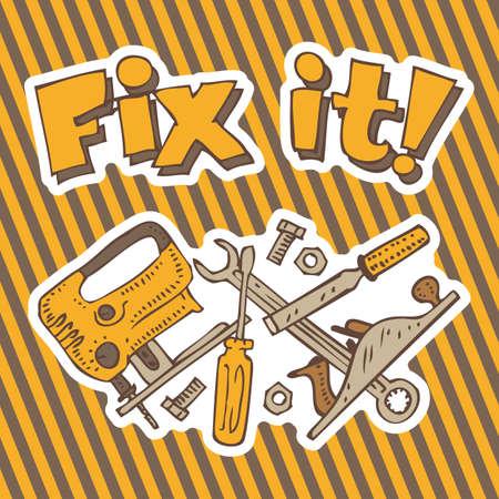 Repariere es. Komposition mit Tools für die Reparatur und die Befestigung auf einem traditionellen Hazard gestreiften Hintergrund
