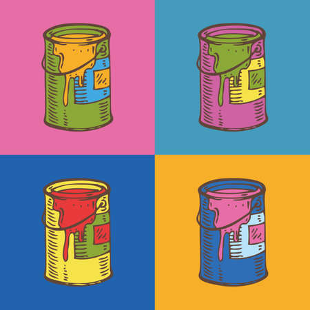 paint tin: Tin Cans of Paint in Pop Art Style. Stylization Illustration