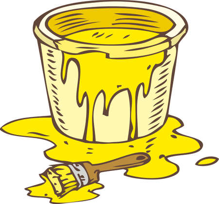 paint tin: Tin Can of Yellow Paint and Paintbrush Isolated on a White Illustration