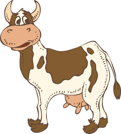 holstein: Spotted Cow Isolated on a White. Hand Drawn Illustration