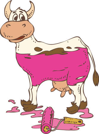 holstein: Spotted Cow Painted in a Pink. Isolated on a White. Hand Drawn Illustration