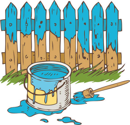 Blue Wooden Fence with Paintbrush, Tin Can of Paint and Green Grass. Painting Process Isolated on a White