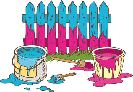 Blue and Pink Wooden Fence with Paintbrush, Tin Cans of Paint and Green Grass. Painting Process Isolated on a White