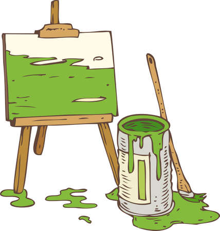 paint tin: Abstract Picture on the Wooden Easel, Tin Can of Green Paint and Paintbrush. Isolated on a White