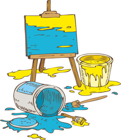 paint tin: Picture on the Wooden Easel, Tin Cans of Yellow and Blue Paint and Paintbrushes. Isolated on a White Illustration
