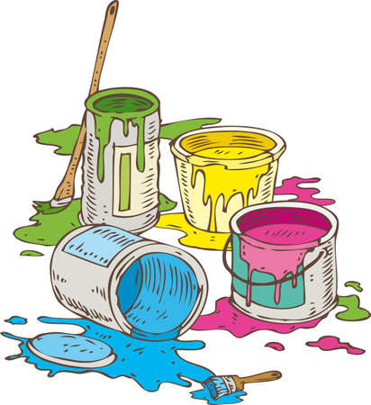 paint tin: Tin Cans of Yellow, Blue, Pink and Green Paint and Paintbrush Isolated on a White