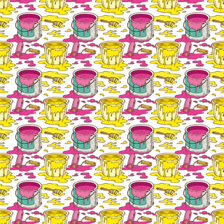 paint cans: Seamless Vector Pattern with a Paintbrushes, Roller Brushes and Paint Cans of Yellow and Pink Paint on a White Background