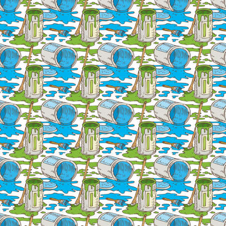 paint cans: Seamless Vector Pattern with a Paintbrushes, Roller Brushes and Paint Cans of Blue and Green Paint on a White Background