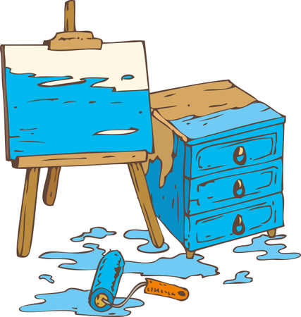paint tin: Abstract Picture on the Wooden Easel, Tin Can of Blue Paint, Paint Roller and Chest of Drawers. Isolated on a White