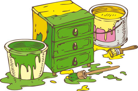 paint tin: Green Chest of Driwers, Two Tin Cans of Green and Yellow paint and Paintbrushes. Isolated on a White Illustration