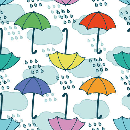 Seamless Pattern with Clouds, Rain and Umbrellas on a White Background