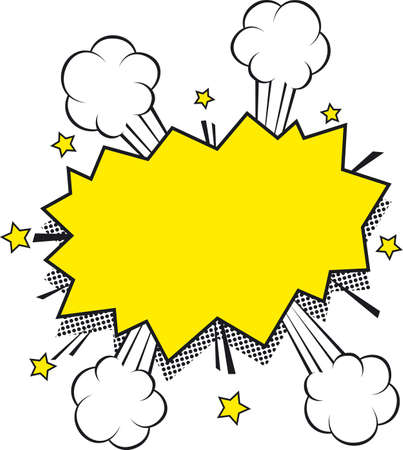 kapow: Blank Comic Sound Effect Bubble. Yellow on a White Background