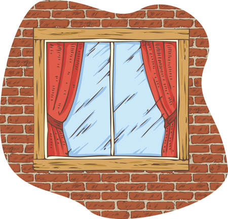 casement: Wooden Window with Red Curtain on a Brick Wall. Hand Drawn Illustration Illustration