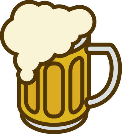tankard: Overflowing Beer Mug with Overflow isolated ona White Background