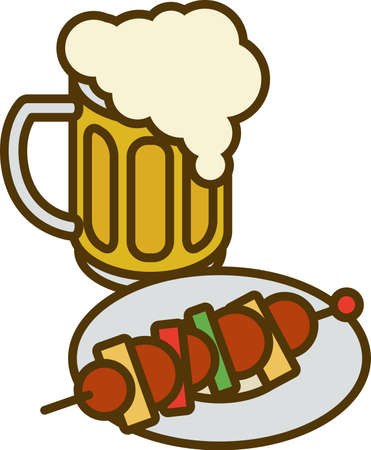 overflowing: Overflowing Beer Mug with Overflow and Plate with Kebab Isolated on a White Background Illustration