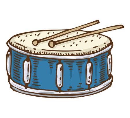 Blue Drum with Drumsticks. Isolated on a White