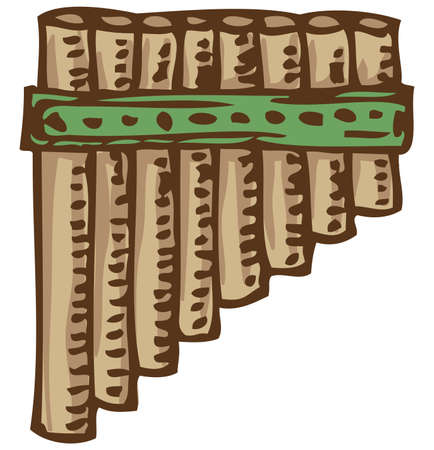 panpipes: Musical Instrument. Bamboo Pan Flute. Isolated on a White