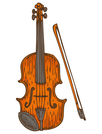 fiddlestick: Musical Instrument. Wooden Fiddle or Violin with Fiddlestick. Isolated on a White Illustration