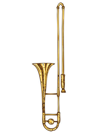 Musical Instrument. Golden Trombone Isolated on a White Иллюстрация