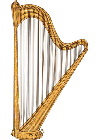 Musical Instrument. Golden Harp. Isolated on a White Illustration