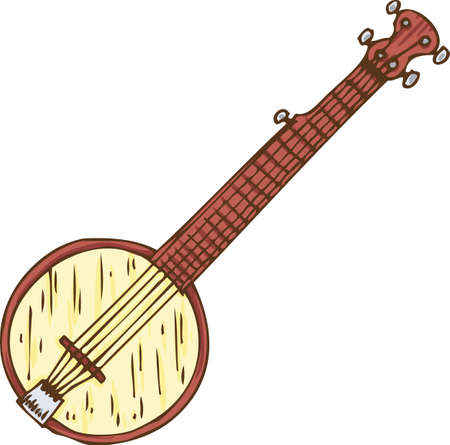 minstrel: Musical Instrument. Wooden Banjo. Isolated on a White Illustration