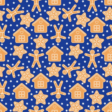 Seamless Vector Pattern with Gingerbread in Flat Style on a Dark Blue Background Illustration