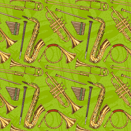 Seamless  Pattern With Wind Musical Instruments on a Green Background Illustration