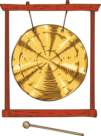 Musical Instrument. Golden Gong Hanging in a Frame and Hammer. Isolated on a White