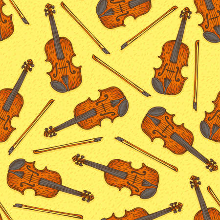 fiddlestick: Seamless Vector Pattern with Wooden Fiddle or Violin and Fiddlestick on a Yellow Background