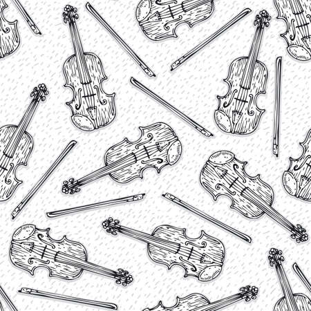 fiddlestick: Black and White Seamless Vector Pattern with Wooden Fiddle or Violin and Fiddlestick Illustration
