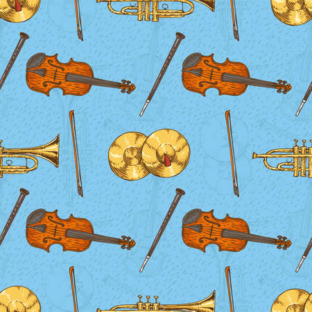 Cymbals: Seamless Vector Pattern with Wooden Fiddle or Violin, Cymbals and Trombone on a Yellow Background on a Blue Background
