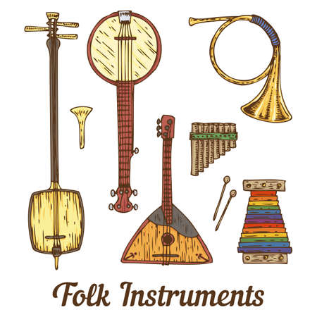 minstrel: Collection of Folk Musical Instruments. Isolated on a White Illustration