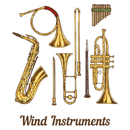 Collection of Wind Musical Instruments. Isolated on a White Illustration